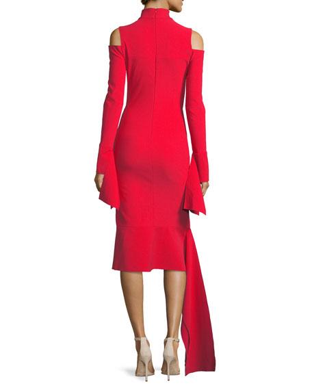 Katell Mock-Neck Cold-Shoulder Sheath Cocktail Dress