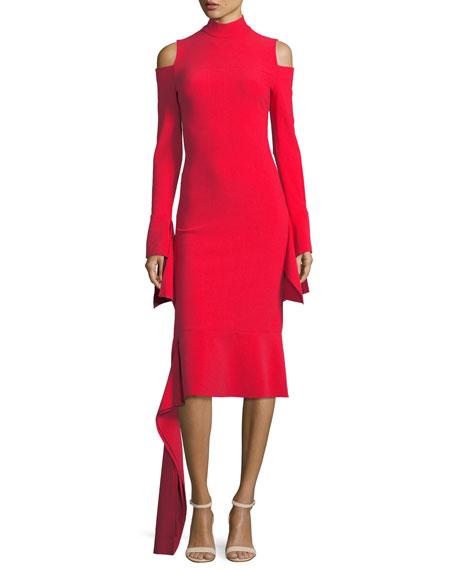 Alexis Katell Mock-Neck Cold-Shoulder Sheath Cocktail Dress