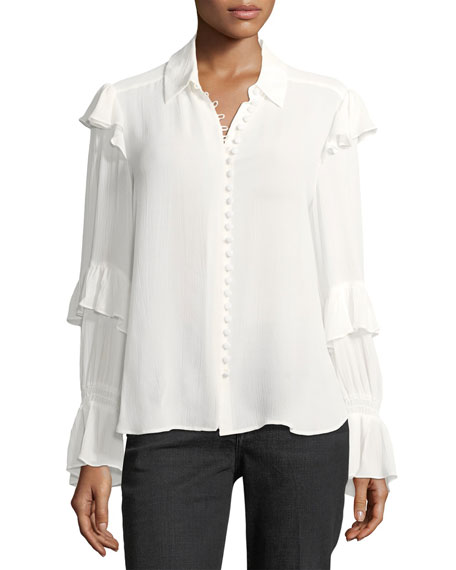 FRAME Victorian Ruffled Button-Front Silk Blouse