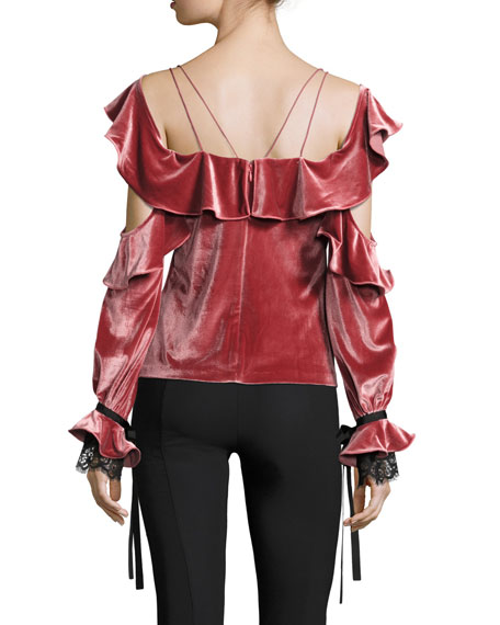 Velvet Off-the-Shoulder Long-Sleeve Frill Top