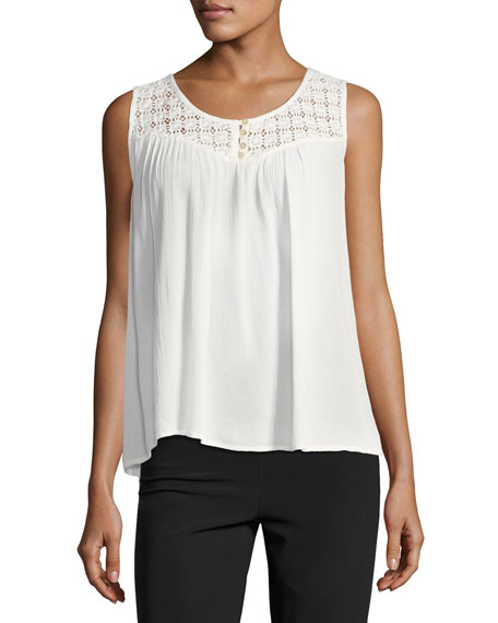 Avila Lace-Yoke Swing Blouse