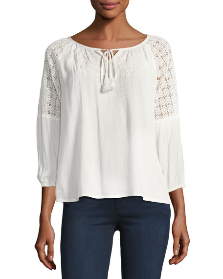 Avila Lace-Shoulder Blouse