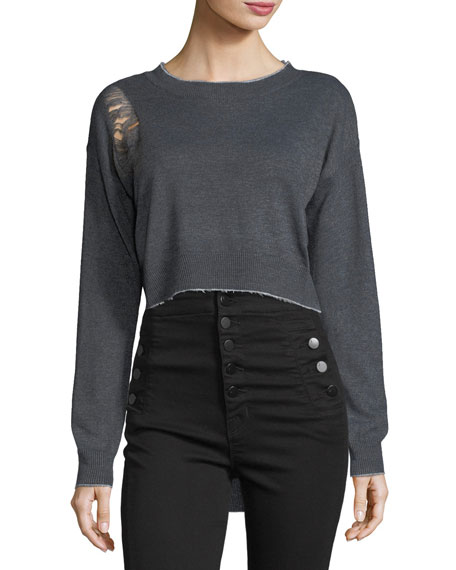 Lucia Distressed High-Low Sweater