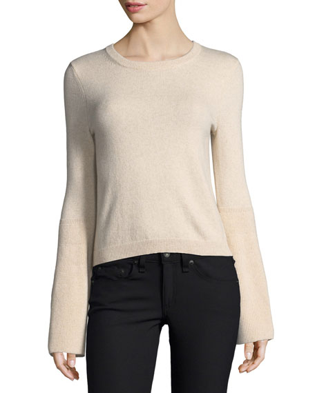 Parson Crewneck Bell Sleeve Pullover Sweater by Alice + Olivia