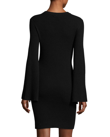 Gretel Crewneck Split-Sleeve Ribbed Sweater Dress