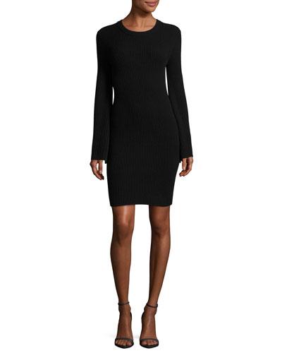 Gretel Crewneck Split-Sleeve Ribbed Sweater Dress