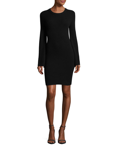 Gretel Crewneck Split Sleeve Ribbed Sweater Dress by Alice + Olivia