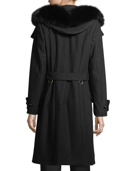 Claybrook Lightweight Wool Fur-Hood Coat