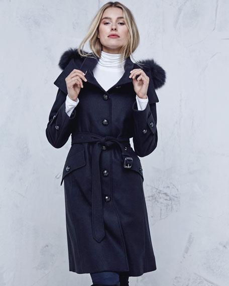 Claybrook Lightweight Wool Fur-Hood Coat