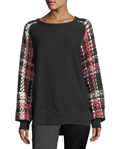 Linton Racer Crewneck Sweatshirt w/ Tweed Sleeves