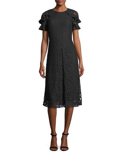 Ruffle-Sleeve Lace Dress