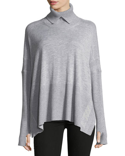 Wool-Cashmere Swing Turtleneck
