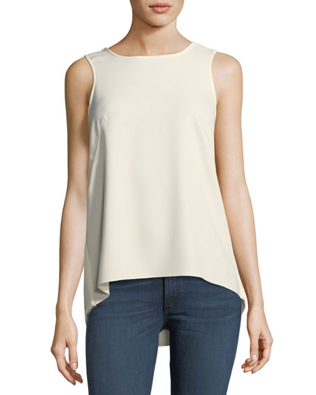 Rag & Bone Harper Round-Neck Sleeveless Crepe Top