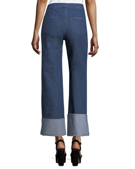 High-Waist Chambray Cuffed Pants