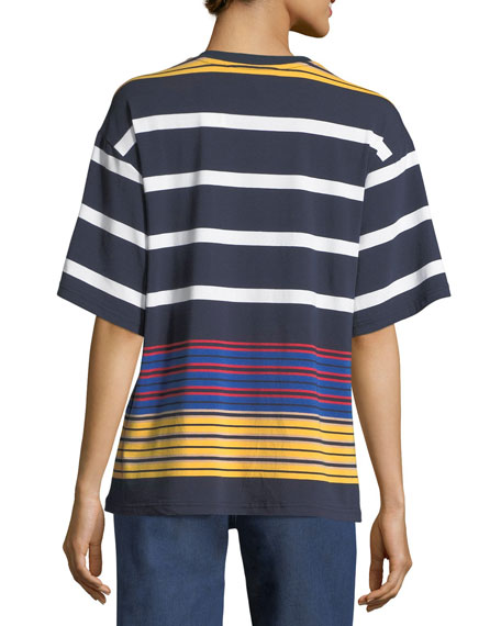 Multi-Stripe Short-Sleeve Top