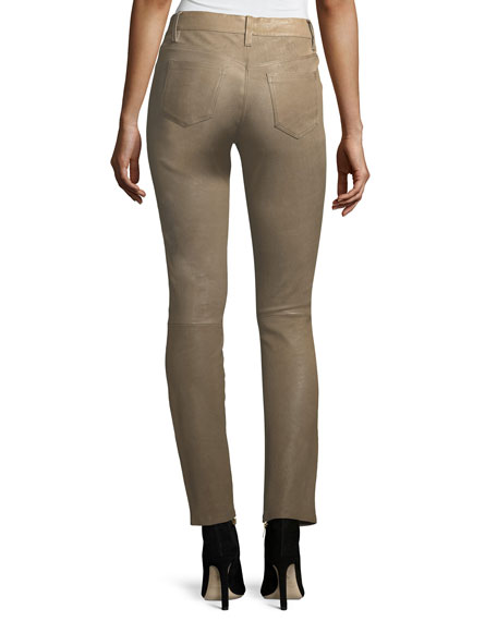 Maude Mid-Rise Cigarette Lamb Leather Pants
