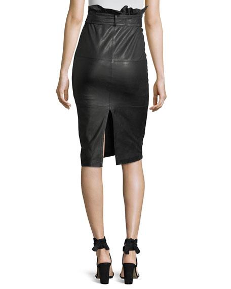 Claudia High-Waist Lamb-Leather Midi Skirt