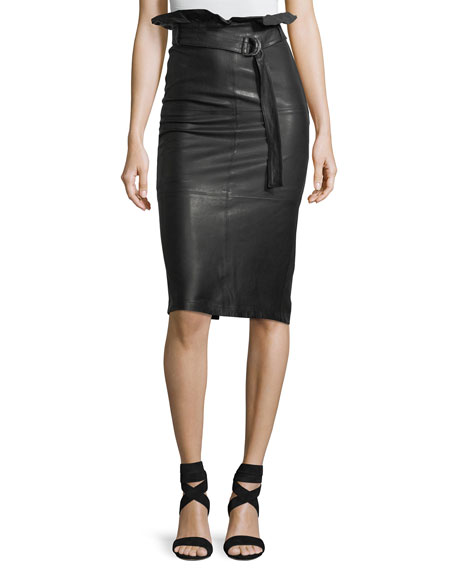 J Brand Claudia High-Waist Lamb-Leather Midi Skirt