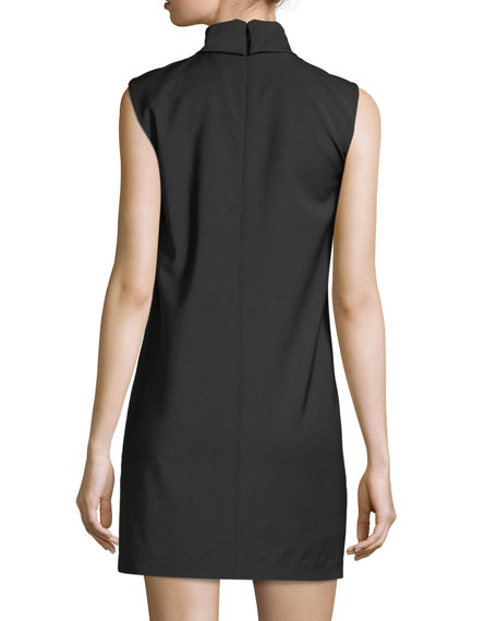 Slit Collar Sleeveless Wool-Blend Dress