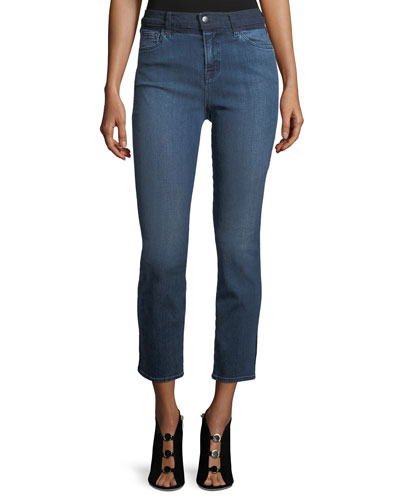 High-Rise Straight-Leg Cropped Jeans