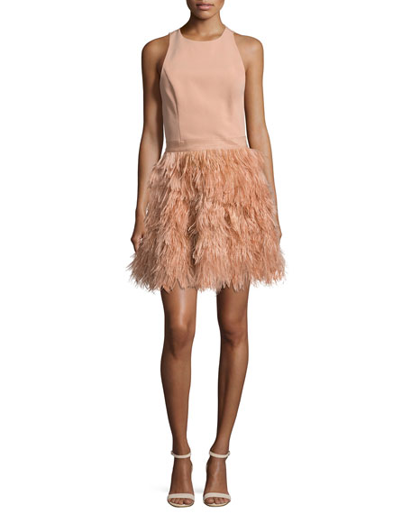 Alice Olivia Philomena Feather Skirt Cocktail Dress