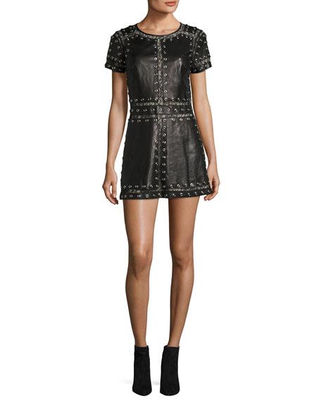 Alice + Olivia Tahlia Short-Sleeve Studded Leather A-line