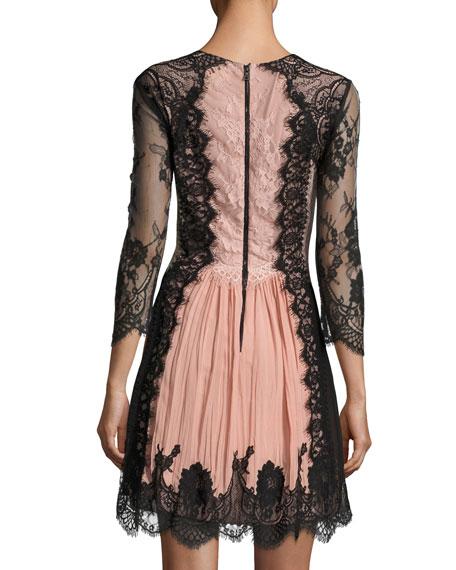 Kaylen Lace-Combo Bracelet-Sleeve Cocktail Dress