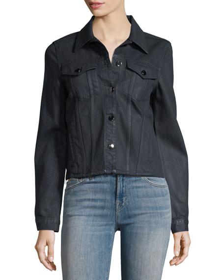 Coated Slim Button-Front Denim Jacket w/ Raw Hem