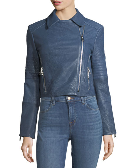 Aiah Zip-Front Leather Motorcycle Jacket