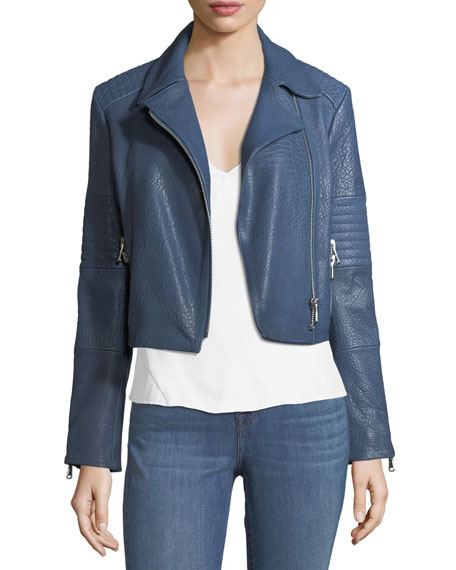 J Brand Aiah Zip-Front Leather Motorcycle Jacket