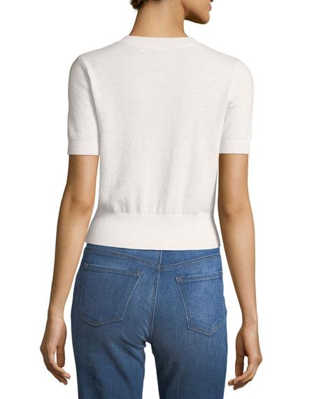 Briony Crewneck Short-Sleeve Cashmere Sweater