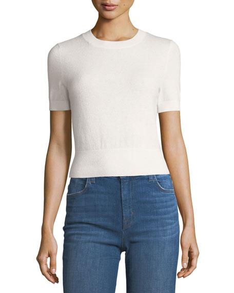 J Brand Briony Crewneck Short-Sleeve Cashmere Sweater