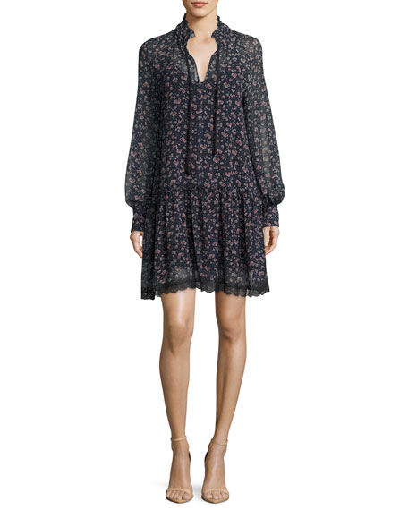 See by Chloe Floral-Printed Chiffon Babydoll Dress