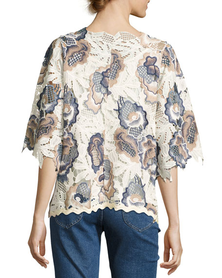 Guipure Lace Short-Sleeve Boxy Top