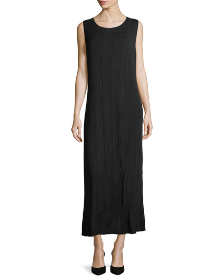 Misook Vertical Lines Faux-Wrap Knit Maxi Dress