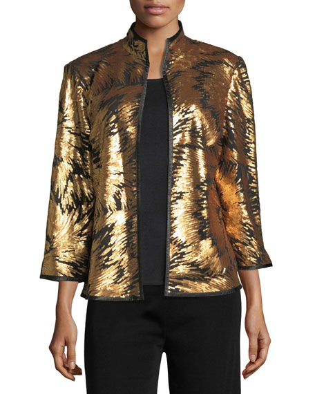 Matte Sequin Burst Jacket, Plus Size