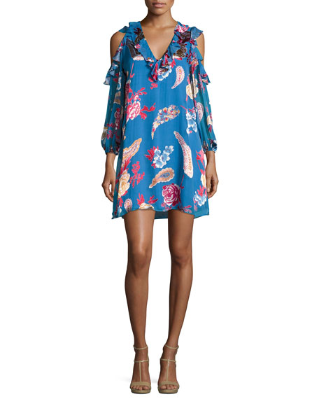 Alice + Olivia Giovanna Ruffled Cold-Shoulder Floral-Print