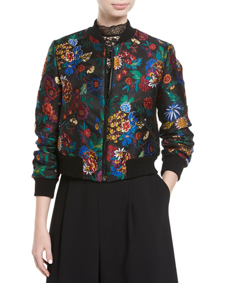 Alice + Olivia Lonnie Floral-Jacquard Cropped Bomber Jacket