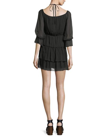 Waylon Boat-Neck Blouson-Sleeve Dress