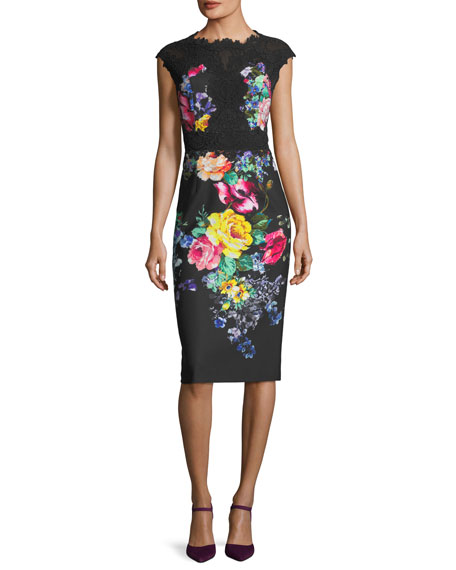 Rickie Freeman for Teri Jon Floral-Stretch Cap-Sleeve Cocktail