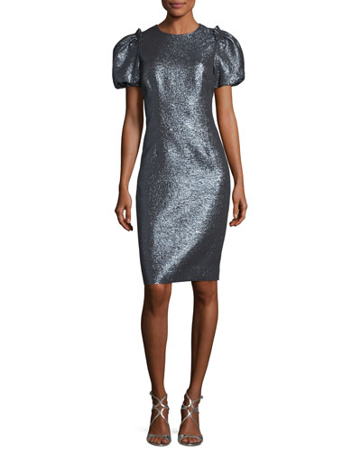 Metallic Puff-Sleeve Sheath Cocktail Dress