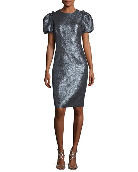 Metallic Puff-Sleeve Sheath Cocktail Dress