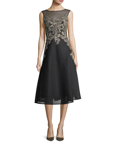 Honeycomb Lace Sleeveless Embroidered Cocktail Dress