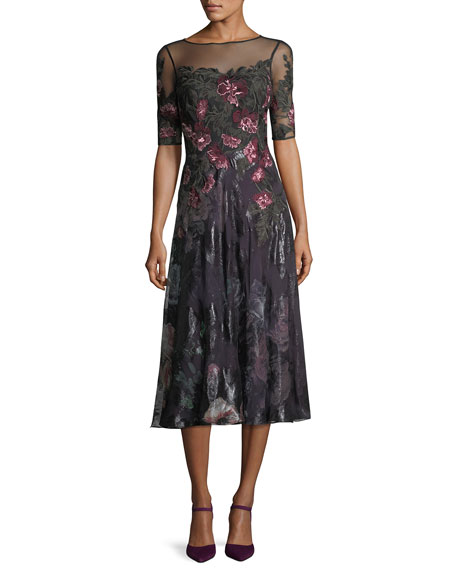 Rickie Freeman for Teri Jon Floral-Embroidered 1/2-Sleeve Tulle