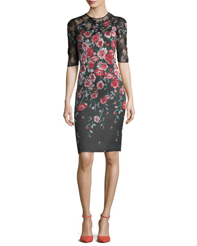 Floral-Embroidered 1/2-Sleeve Cocktail Dress