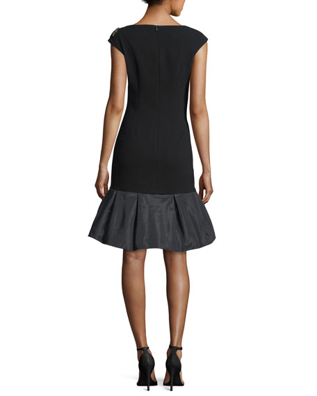 Cap-Sleeve Taffeta-Hem Cocktail Dress w/ Beaded Detail