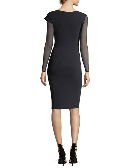 Abner Illusion Sleeve Asymmetric Cocktail Dress w/ Leather Panels