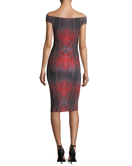 Irene Printed Bateau-Neck Cocktail Sheath Dress