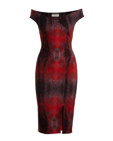 Irene Printed Bateau-Neck Cocktail Sheath Dress