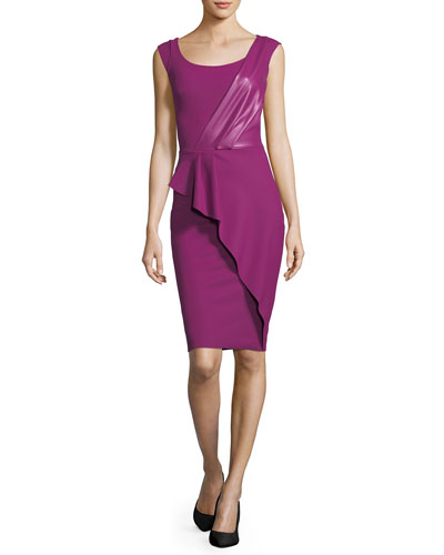 Phillida Bateau-Neck Fitted Cocktail Dress w/ Faux Leather